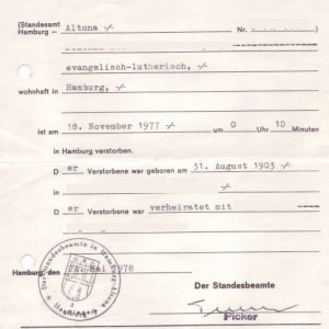 German Death Certificate from 1977